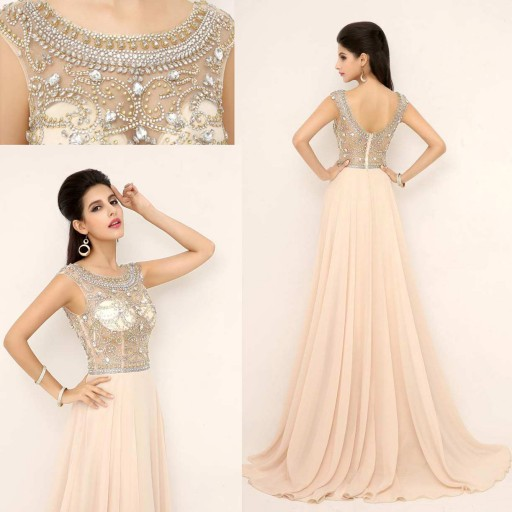Rhinestone prom dresses, beaded prom dress, long prom dresses, cheap prom dresses, 2016 prom dresses, pink prom dresses, dresses for prom, CM660