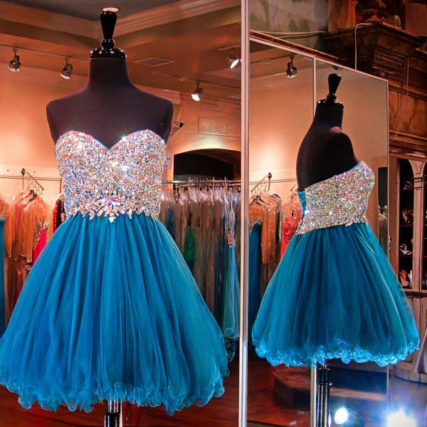 Turquoise homecoming dress, strapless Tulle homecoming dress, short homecoming dresses, 2016 homecoming dress, short prom dresses, homecoming dress, CM949