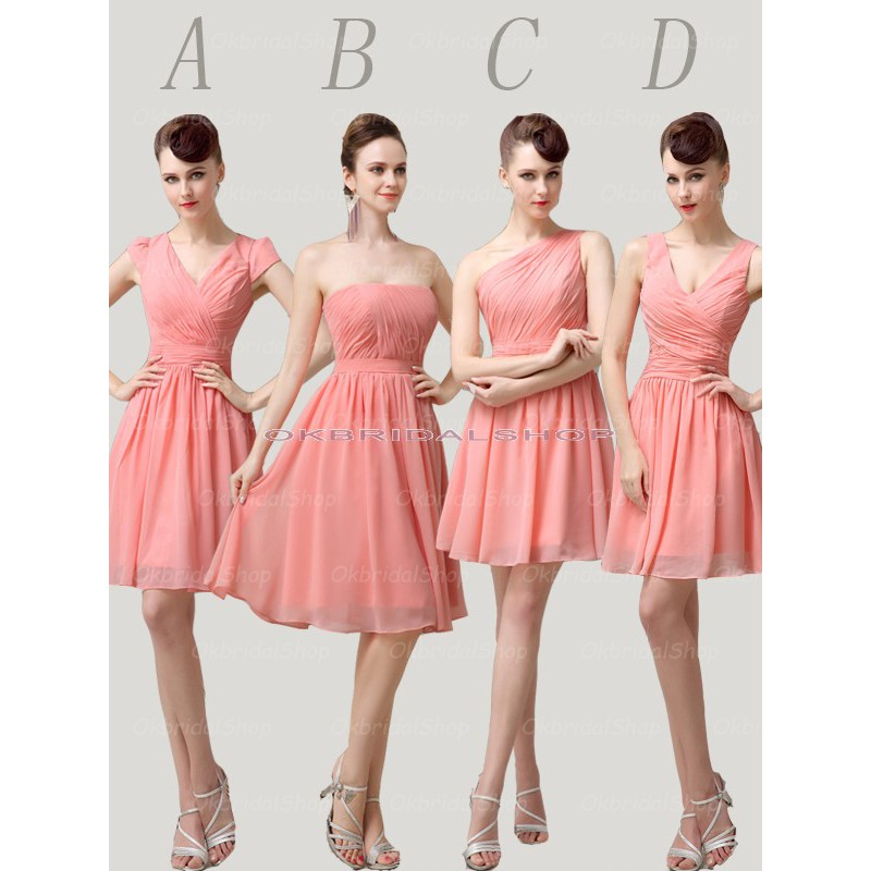 Peach Bridesmaid Dresses, Chiffon Bridesmaid Dress, Short Bridesmaid ...
