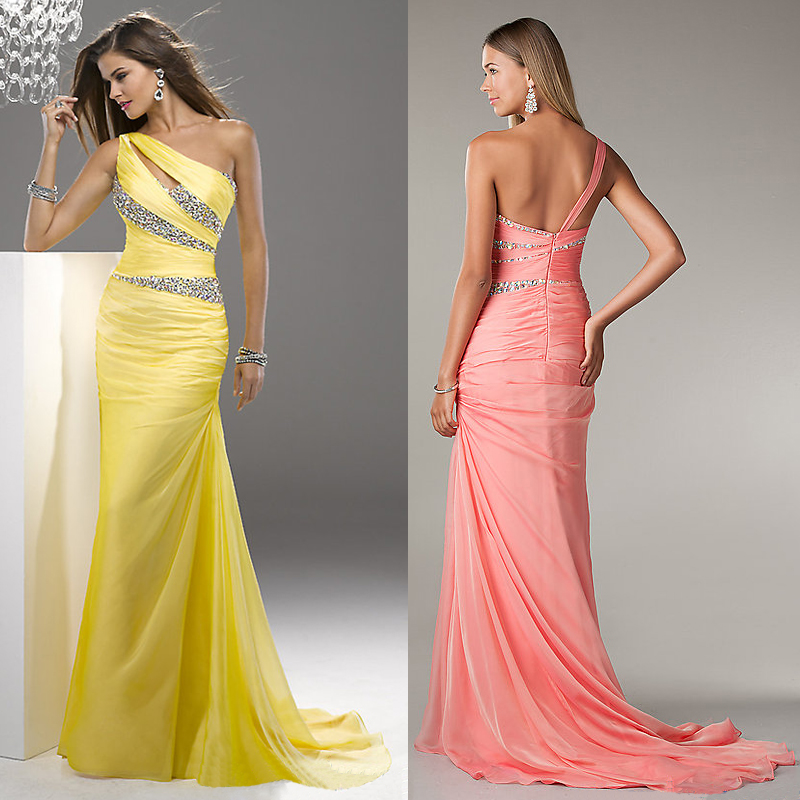 161a5fa47c4 One Shoulder Yellow Prom Dresses