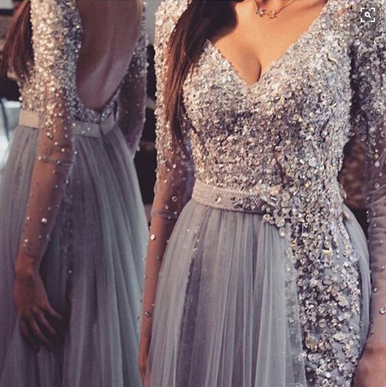 Grey Long Sleeve Prom Dress 2016 Backless Prom Dress Sexy Prom